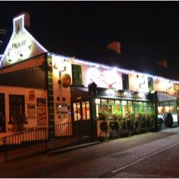 Nightime picrure of the merry Ploughboy Pub Dublin.